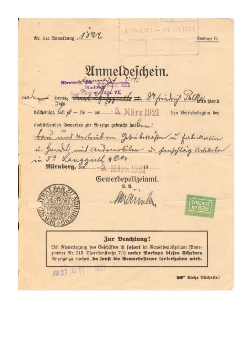 Langguth Geschichte 1921: Anmeldeschein