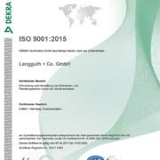 ISO 9001 :2015 Zertifikat
