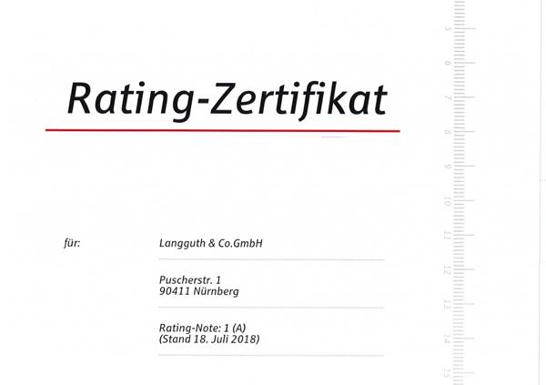 Rating-Zertifikat der Sparkasse Nürnberg